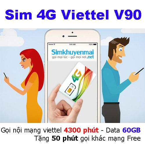 Sim 4G Viettel V90 60GB gọi 4300 phút miễn phí